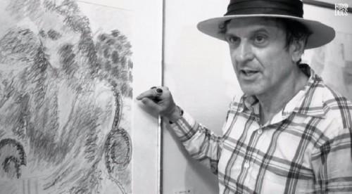 Robert De Niro Sr. in front of his drawing