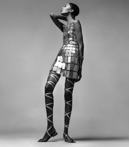 Donyale Luna intriguing tile dress by Paco Rabanne, New York, 1966
