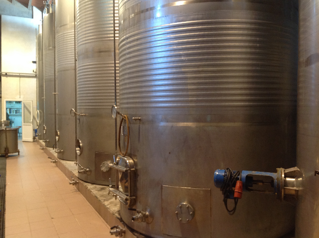 The stainless steel vats