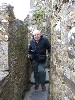 Me squeezing through narrow passages. Hiemer photo.