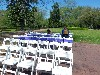 Setting up for an afternoon wedding.