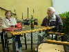 Retired Czech couple at the cafe, Pisek