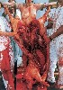 Nitsch explained that the animals were slaughtered by butchers prior to the ritual actions.