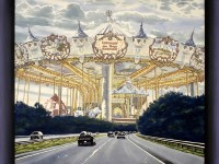 <strong>French Carousel Over Mass Pike</strong> - watercolor on paper on canvas