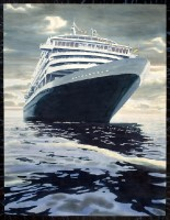 <strong>Cruise Ship in Amsterdam</strong> - watercolor on paper on canvas