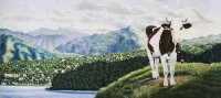 <strong>French Cow on Vacation in Italy</strong> - watercolor on paper on canvas